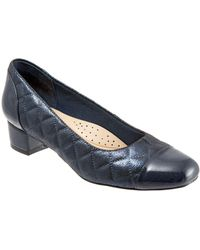 Trotters - Danelle Quilted Leather Block Heel Court Shoes - Lyst