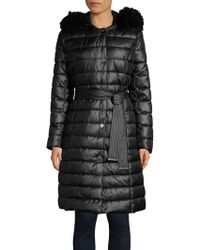 Kenneth Cole - Belted Faux-fur Trim Walker Coat - Lyst