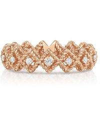 Roberto Coin - New Barocco Diamond And 18k Rose Gold Bar Ring - Lyst
