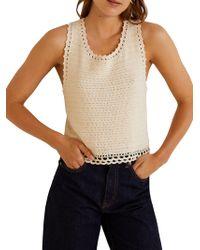 Mango - Isla Crocheted Cotton Top - Lyst