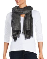 Lord & Taylor | Metallic Paisley-print Fringed Scarf | Lyst