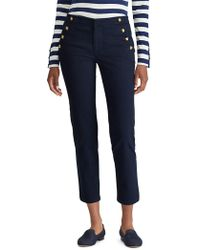 Lauren by Ralph Lauren - Straight-fit Button-trimmed Chino Trousers - Lyst