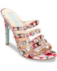 Betsey Johnson - Jovi Embellished Strappy Sandals - Lyst