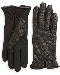Lord & Taylor - Quilted Leather Tech Gloves - Lyst