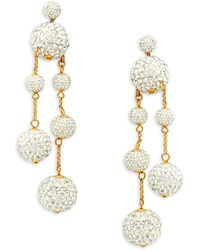 Kate Spade - Goldtone And Glass Stone Asymmetrical Drop Earrings - Lyst