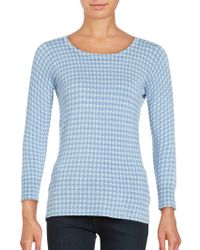 Isaac Mizrahi New York - Houndstooth Three-quarter Sleeve Jumper - Lyst