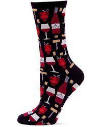 Hot Sox - Wine Print Crew Socks - Lyst