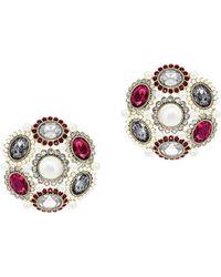 Swarovski - Goldplated Millennium Clip Earrings - Lyst