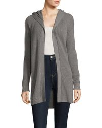 Kensie - Rib-knit Hooded Cardigan - Lyst
