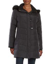 Ellen Tracy - Fox Fur-trimmed Puffer Coat - Lyst