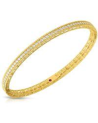 Roberto Coin - Symphony Diamonds And 18k Yellow Gold Princess Bangle - Lyst