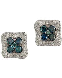 Effy - Blue & White Diamond 14k White Gold Square Studs - Lyst