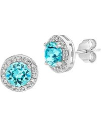 9e50ad2158c21a Lord   Taylor - 925 Sterling Silver   Swarovski Crystal Round-halo Stud  Earrings -