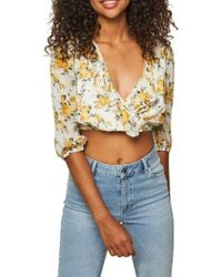 Miss Selfridge - Floral Ruffled Wrap Cropped Top - Lyst
