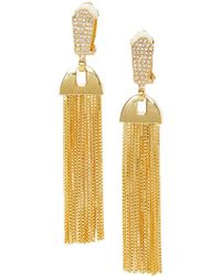 Vince Camuto - Crystal Tassel Clip-on Earrings - Lyst