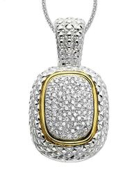 Lord & Taylor - 14k Gold And Sterling Silver Diamond Pave Necklace - Lyst