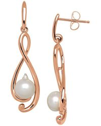 Lord & Taylor - 6mm Freshwater Pearl And Diamond 14k Rose Gold Drop Earrings - Lyst