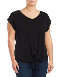 Lord & Taylor - Plus Tie-front Cotton Tee - Lyst