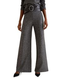 Mango - Chevron Wide-leg Trousers - Lyst