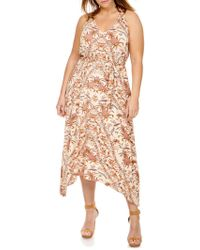 Lucky Brand - Plus Printed Asymmetrical Maxi Dress - Lyst