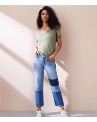 Lou & Grey - Patched Wide Leg Jeans - Lyst
