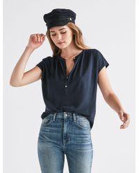 Lucky Brand - Short Sleeve Shadow Stripe Top - Lyst