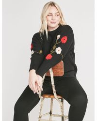 Lucky Brand - Embroidered Sleeve Cotton Sweater - Lyst