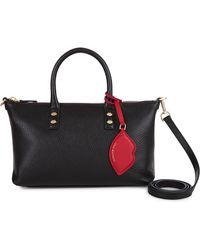 Lulu Guinness   Black Grainy Leather Small Frances   Lyst