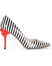 Lulu Guinness - Stripe Smooth Leather Brigette Court - Lyst