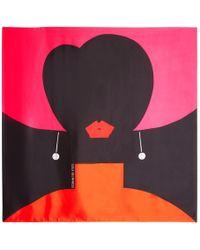 Lulu Guinness - Heart Face Print Silk Scarf - Lyst