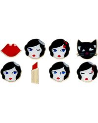 Lulu Guinness - Set Of 8 Lulu Pins - Lyst