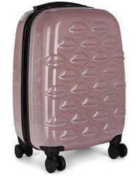 Lulu Guinness - Pink Glitter Hard Sided Lips Small Spinner Case - Lyst