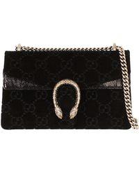 7d2283b5c62 Lyst - Gucci Dionysus Mini Velvet Wallet On A Chain in Black