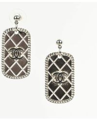 Chanel - Spring 2009 Silver Tone Enameled Quilted 'cc' Dog Tag Drop Earrings - Lyst