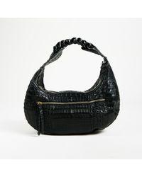 Nancy Gonzalez - Black Crocodile Skin Braided Handle Hobo Bag - Lyst