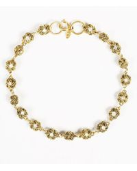 Chanel - Gold Tone Metal & Crystals Rope Ball Station Necklace - Lyst