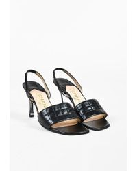 Chanel   2000 Black Leather Quilted Slingback Sandals   Lyst