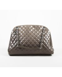 """Chanel - Grey Patent Leather Quilted Large """"just Mademoiselle"""" Bowler Bag - Lyst"""