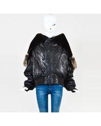 Jean Paul Gaultier - Brown Leather & Faux Fur Drawstring Hood Jacket Sz L - Lyst