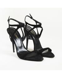 Narciso Rodriguez - Black Suede Strappy Sandals - Lyst