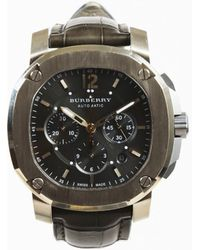 Burberry - Mens Grey Alligator Skin 18k Gold & Titanium Chronograph Watch - Lyst