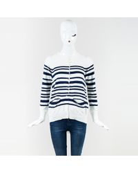 Sacai Luck - White Blue Cotton Buttoned Up Knit Ls Striped Sweater - Lyst