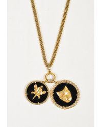 Givenchy - Gold Tone Metal Black Enamel Crystal Pendant Necklace - Lyst