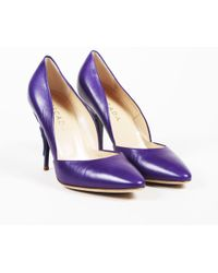 ESCADA - Purple Leather Rounded Toe Sculpted Heel Pumps - Lyst
