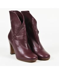 "Céline - ""aubergine"" Purple Nappa Leather ""heritage"" Wrap Booties - Lyst"