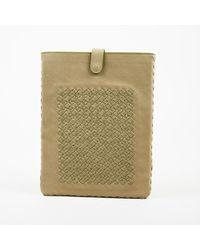 Bottega Veneta - Nwot Brown Green Intrecciato Paneled Nappa Calfskin Tablet Case - Lyst