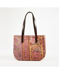 Etro - Multicolor Floral Printed Canvas & Leather Top Handle Bag - Lyst