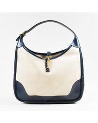 "Hermès - Vintage Beige Navy Box Calf Leather Canvas ""trim"" Bag - Lyst"