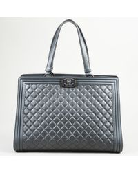 "Chanel - ""boy Shopping Tote"" Large Quilted Leather Bag - Lyst"