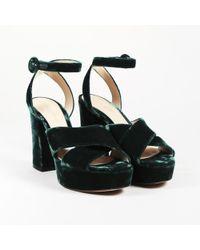 ee186dc1f1c Lyst - Gianvito Rossi Roxy Velvet Platform Sandals in Green